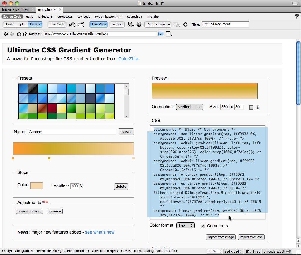 Colorzilla online - Live View Rendering Colorzilla S Gradient Maker